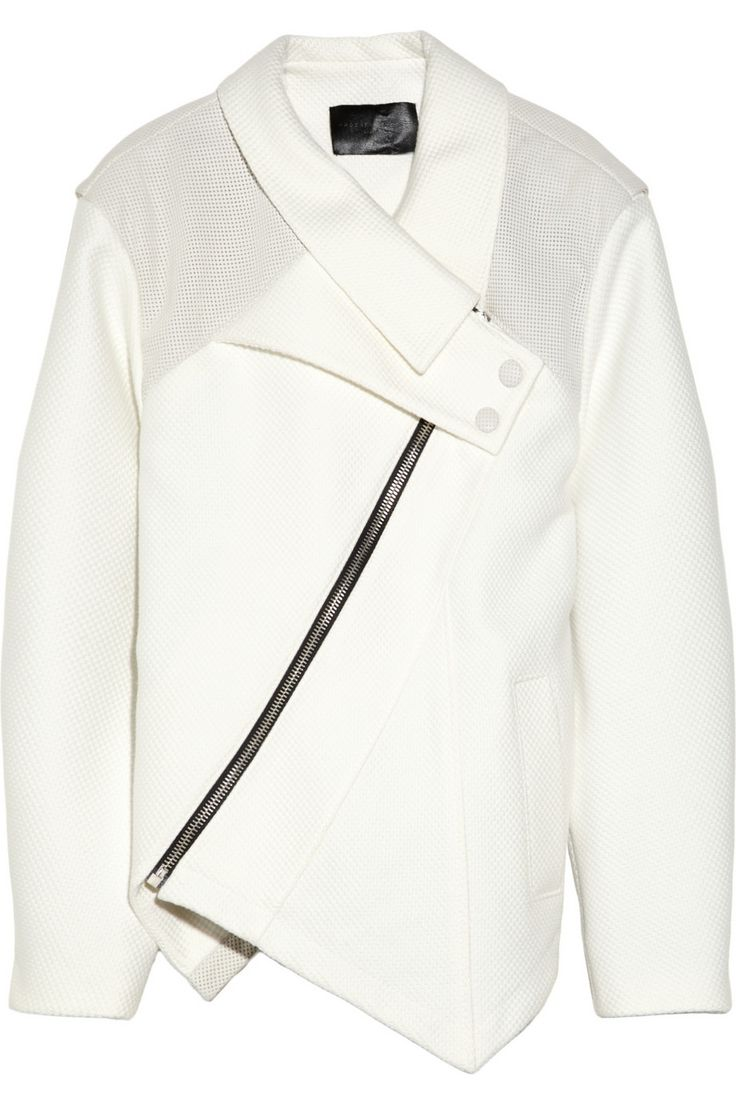 Proenza Schouler | Asymmetric leather-coated woven cotton jacket | NET-A-PORTER.COM