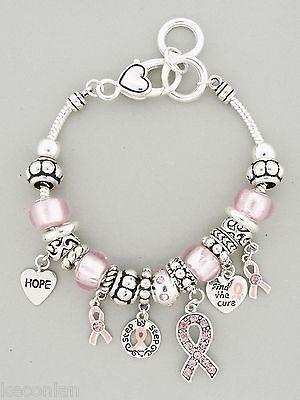 Brighton Bay Jewelry Pink Ribbon Breast Cancer Awareness Charms Beads Bracelet. I really want these charms.