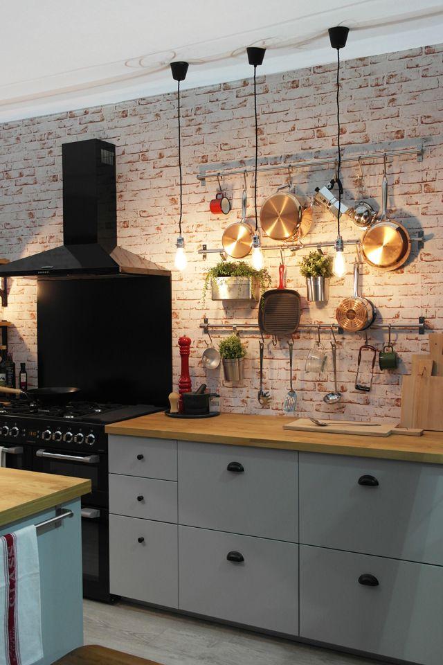 brick wallpaper for kitchen