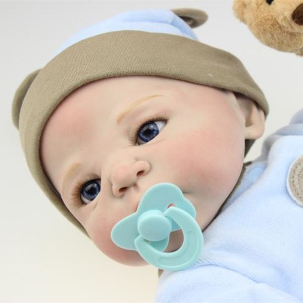 116.89$  Watch now - http://aliqeb.worldwells.pw/go.php?t=32705802936 - Wholesale 22 inch Collectible Reborn Baby Dolls Silicone Doll Handmade Realistic Lifelike Babies Born Toys So Cute Fake Baby Boy 116.89$
