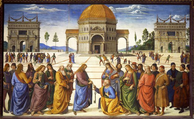 Pietro Perugino: Delivery of the Keys (Christ Handing the Keys to St. Peter) 1481-1482: [Early Renaissance; Rome, Italy] In the Gospel of Matthew, Jesus tells Peter that he will give him (and through him according to Catholic tradition, to the Roman Popes) the keys to the kingdom of heaven, that is, the authority to be his representative on earth.  Taking the Bible passage literally, Pope Sixtus IV commissioned Florentine painter Piero Perugino to paint a fresco on the wall of the Sistine…