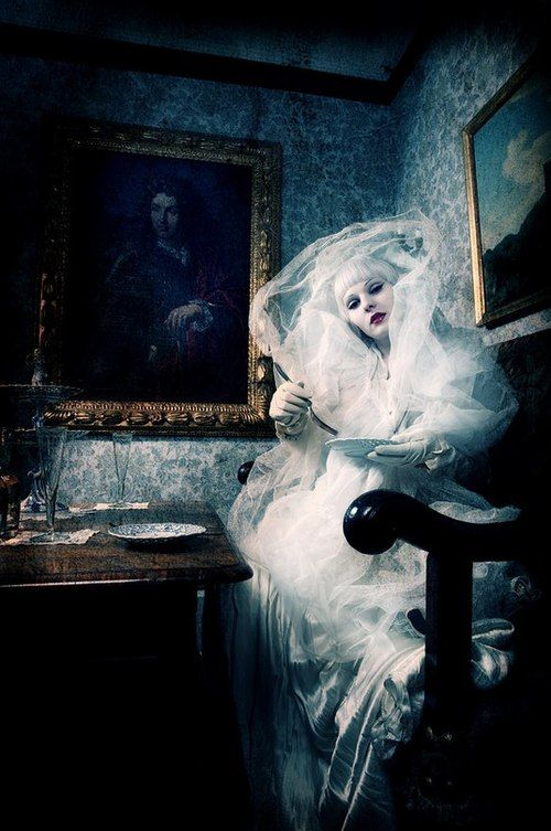 ☫ A Veiled Tale ☫ wedding, artistic and couture veil inspiration - Miss Havisham at home