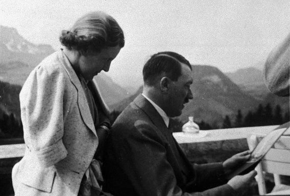 """Eva Braun on the Berghof terrace with Adolf Hitler in 1937 (usually ID'ed as 1935). Hitler was a restrained person in public and he kept a decided distance between himself and other people. As Traudl Junge said, """"he didn't like to be touched."""""""