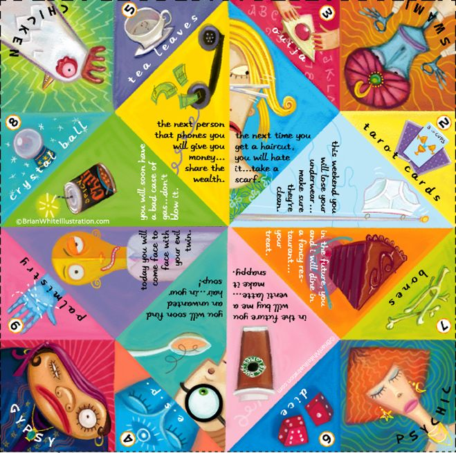 Illustrated paper fortune teller