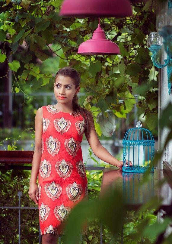 NuKi Hearts of Gold Shift Dress by ShopNuKi on Etsy