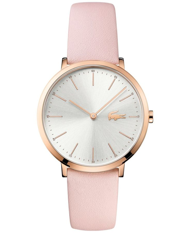 Soft pink and rose tones blend beautifully making an exceptional style statement with this Moon watch by Lacoste. | Pink leather strap | Round rose gold-tone stainless steel case, 35mm | Silver-tone d