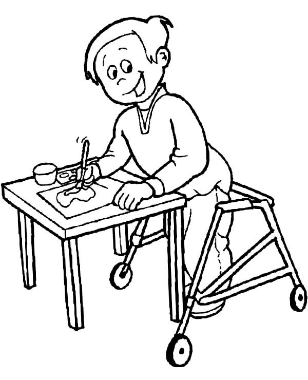 Disability Disability Boy With Painting Gift Coloring Page