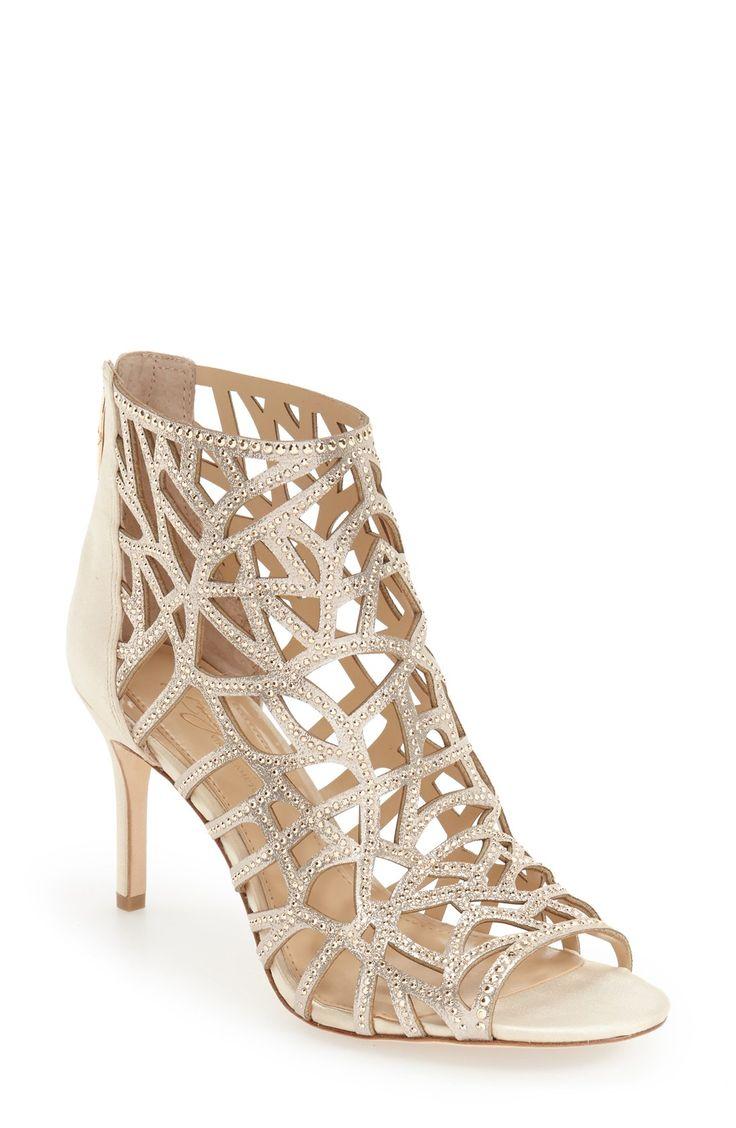 Embellished Gold Cage Sandals
