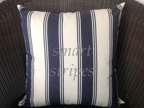 Classic navy blue and cream stripe design, one which has stood the test of time with the style working beautifully in homes of every age. Why not give those brand new red sofas a timeless finishing touch by purchasing a pair? Square and rectangle available.  http://www.homesteadrange.co.nz