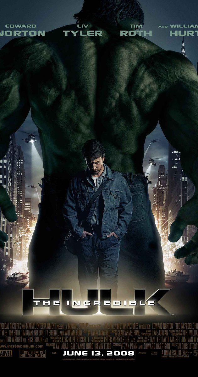 Directed by Louis Leterrier.  With Edward Norton, Liv Tyler, Tim Roth, William Hurt. Bruce Banner, a scientist on the run from the U.S. Government must find a cure for the monster he emerges whenever he loses his temper. However, Banner then must fight a soldier whom unleashes himself as a threat stronger than he.
