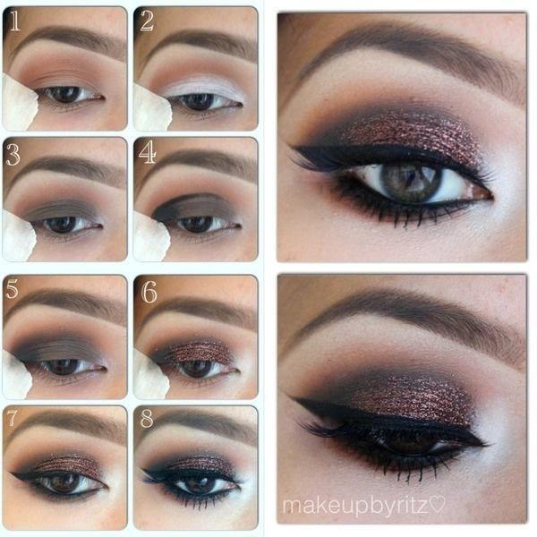 Beautiful sparkling smokey eye makeup #eyes #makeup #steps