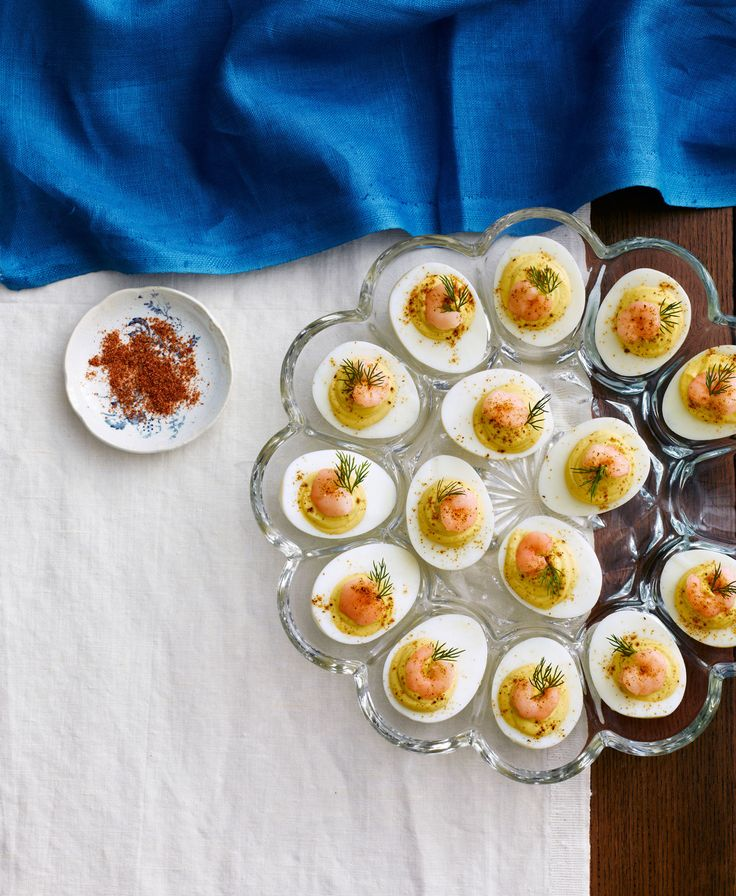 These creamy deviled eggs, topped with Old Bay seasoning and pickled shrimp, are easy to make and sure to impress. Recipe: Deviled Eggs with Old Bay Shrimp   - Delish.com