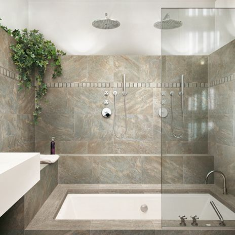 Dome Walnut from arizonatile.com make a beautiful bath surround.