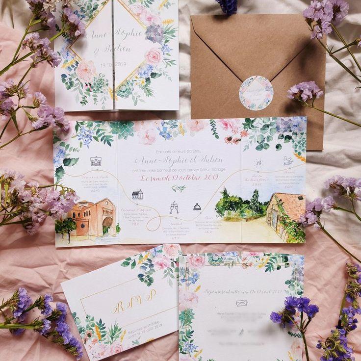 Invitation de mariage de naissance aquarelle personnalisée – · FAIRE-PART MARIAGE // ATELIER EKSENTO ·