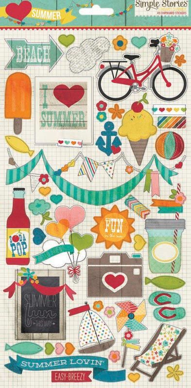 Simple Stories - I Heart Summer Collection - Chipboard Stickers
