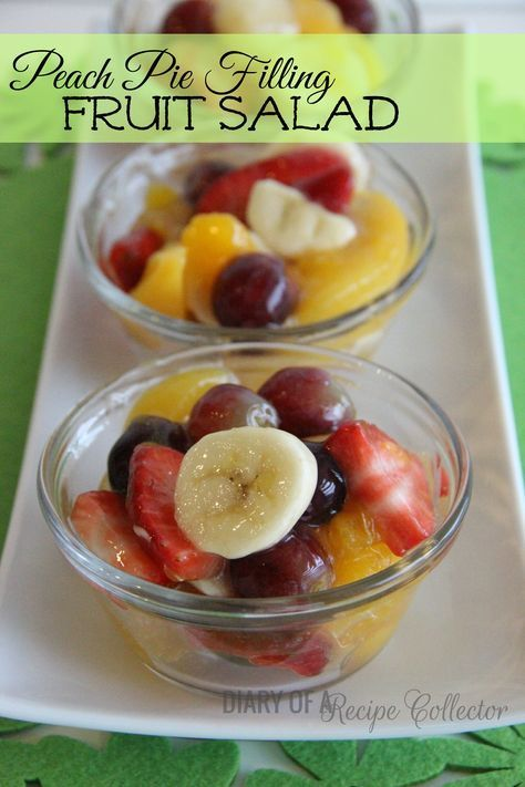Fresh fruit mixed with a can of peach pie filling... This is so stinkin' easy! It is a little treat my roommate's mom would make for us when we were in college. I always loved it. It can be cust...