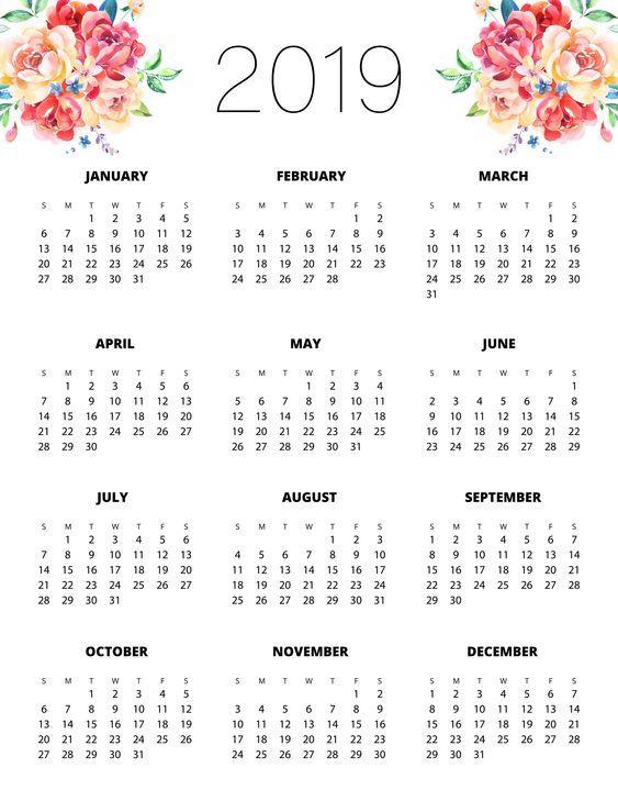 Calendario Diario Para Imprimir 2019.Calendarios 2019 En Imagenes Para Descargar E Imprimir