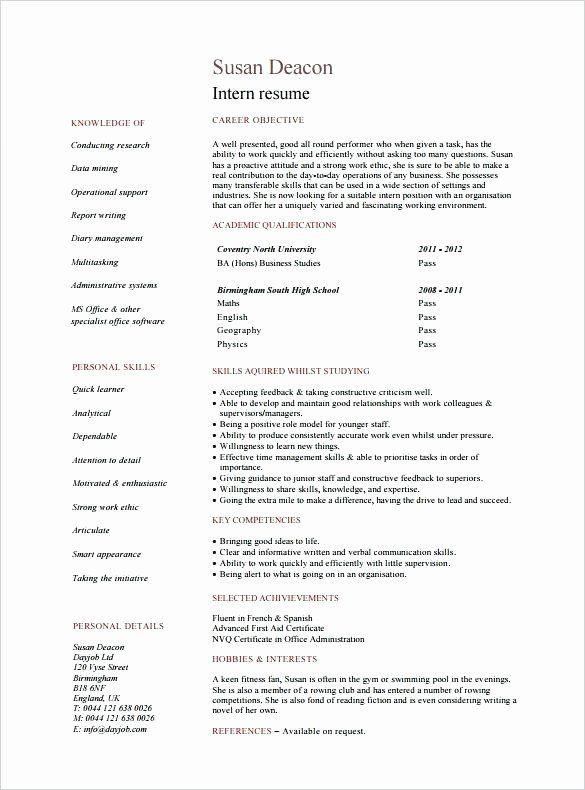 Computer Science Resume Internship Inspirational Resume For Summer Internship Skinalluremedspa Computer Science Resume Summer Internship