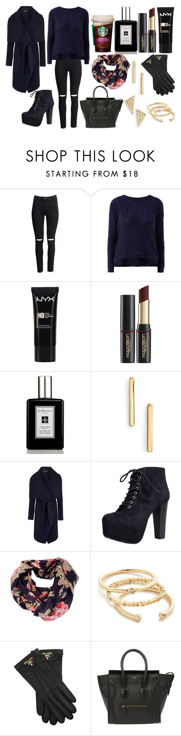 """Без названия #2465"" by southerncomfort ❤ liked on Polyvore featuring H&M, NYX, Napoleon Perdis, Jo Malone, Argento Vivo, Donna Karan, Speed Limit 98, Gorjana, Prada and CÉLINE"