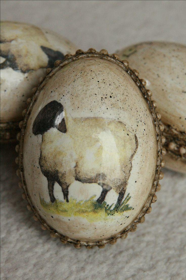 Decoupage eggs pisanki gęsie