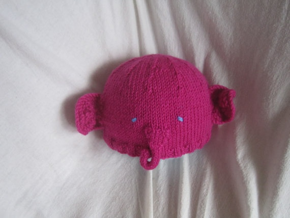 Bright pink elephant hat beanie Soft pure wool small by HotScones, $28.00