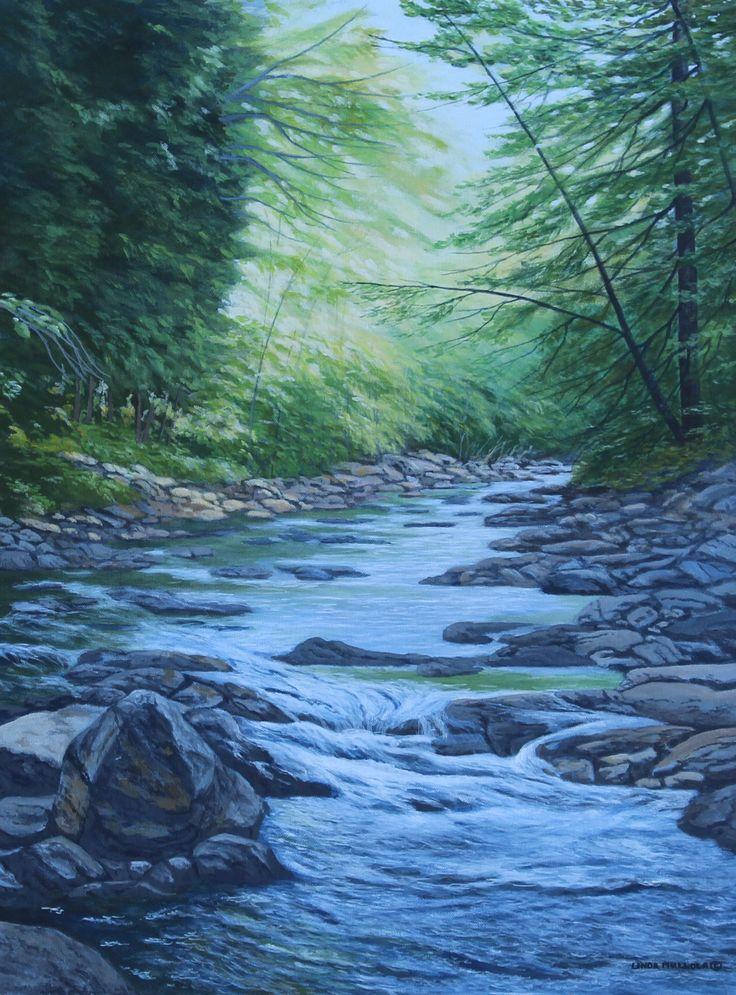 """Down River"" by Linda Mullola Original Acrylic 20 x 16 lindamullola.com"