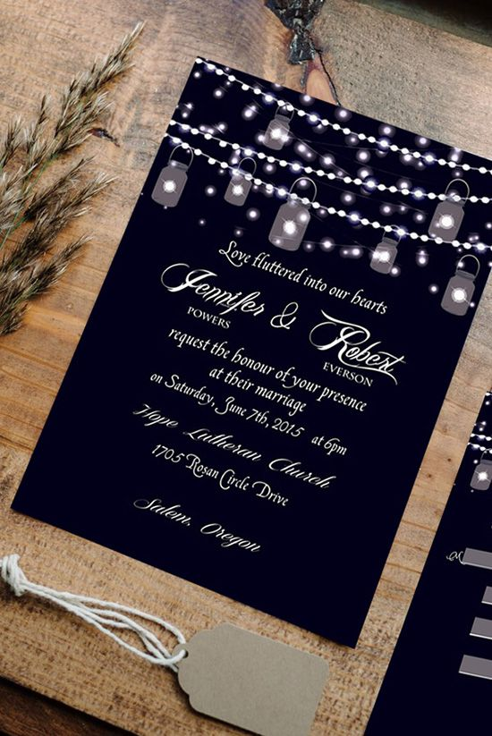 mason jars and string lights inspired sparkling rustic wedding invitations
