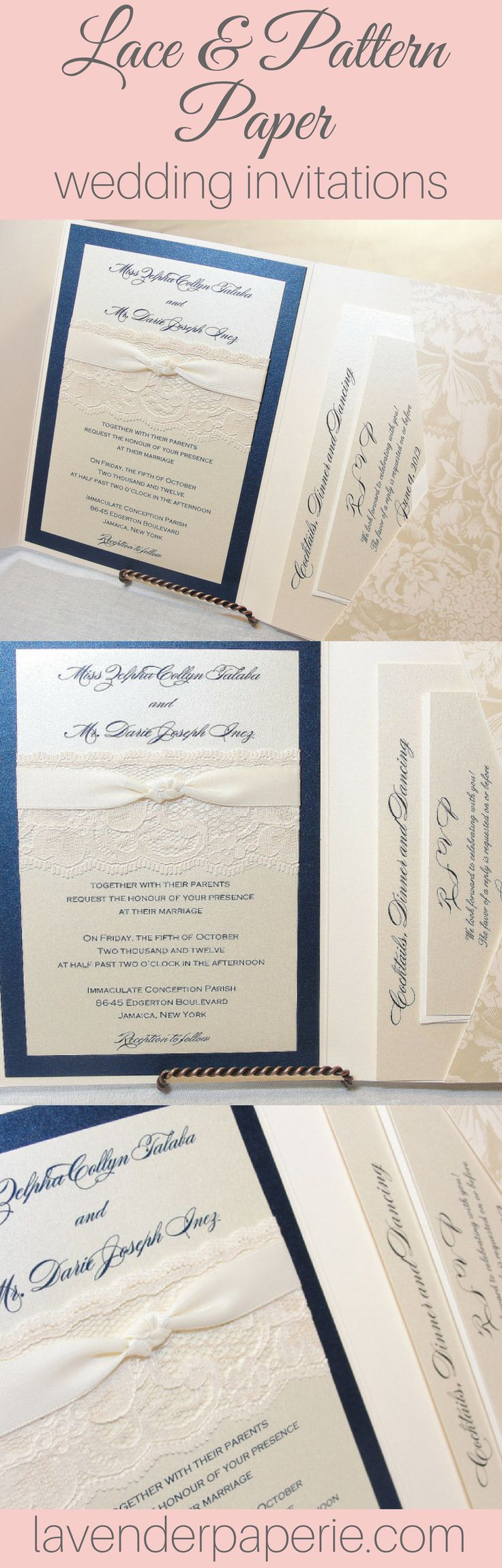 vintage doily wedding invitations%0A Hayley  bloom navy  Wedding Invitation LaceVintage