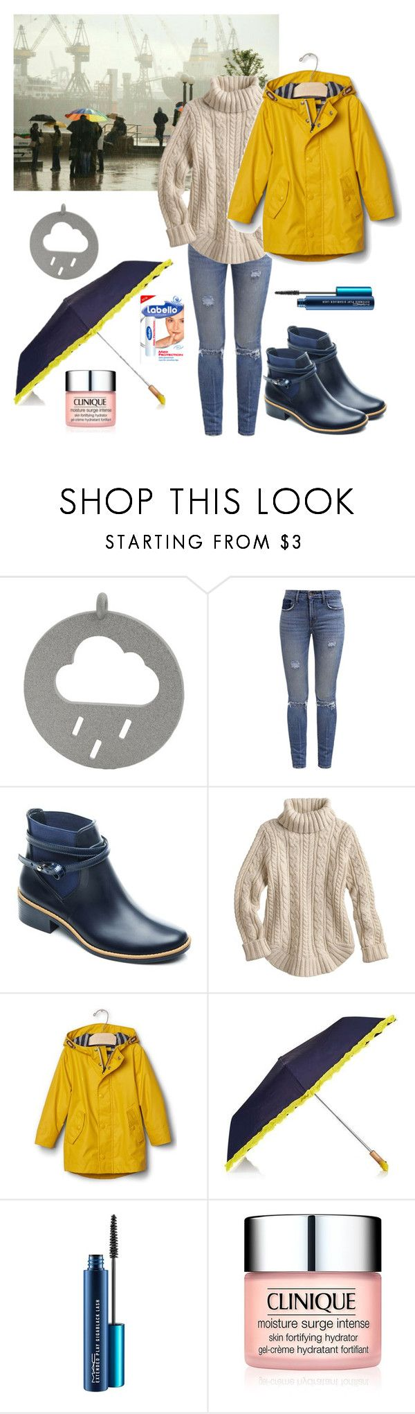 """Hamburg, 8 degrees, rain"" by confusioninme ❤ liked on Polyvore featuring Levi's, Bernardo, Gap, Topshop, MAC Cosmetics and Clinique"