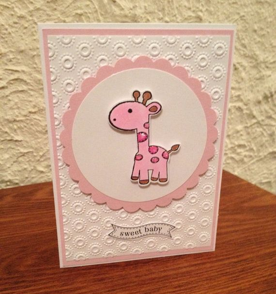 Handmade Pink Giraffe Baby Girl Card by Wishesfromtheheart on Etsy