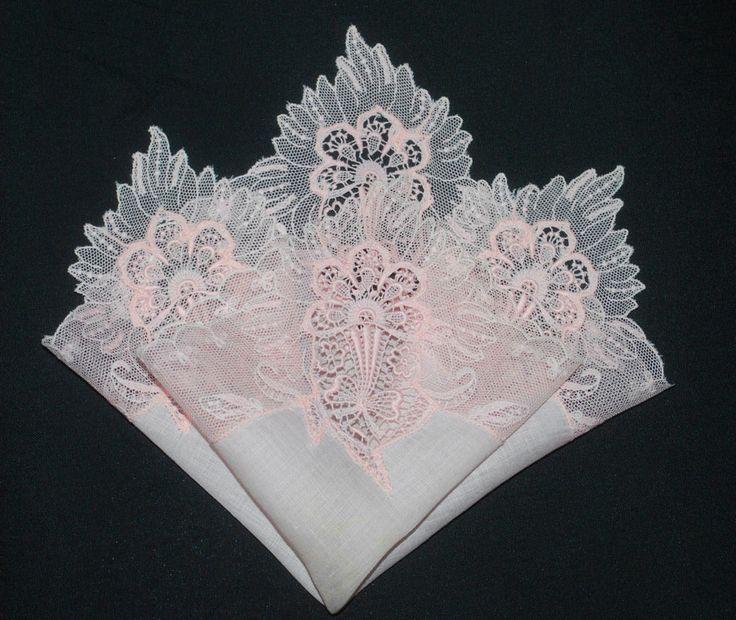 Irish linen ladies handkerchiefs with lace border