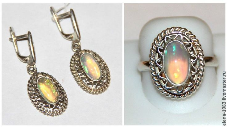 Купить Серебряный комплект (925) с эфиопским опалом - комбинированный, кольцо, серьги, опал, украшения, изделия