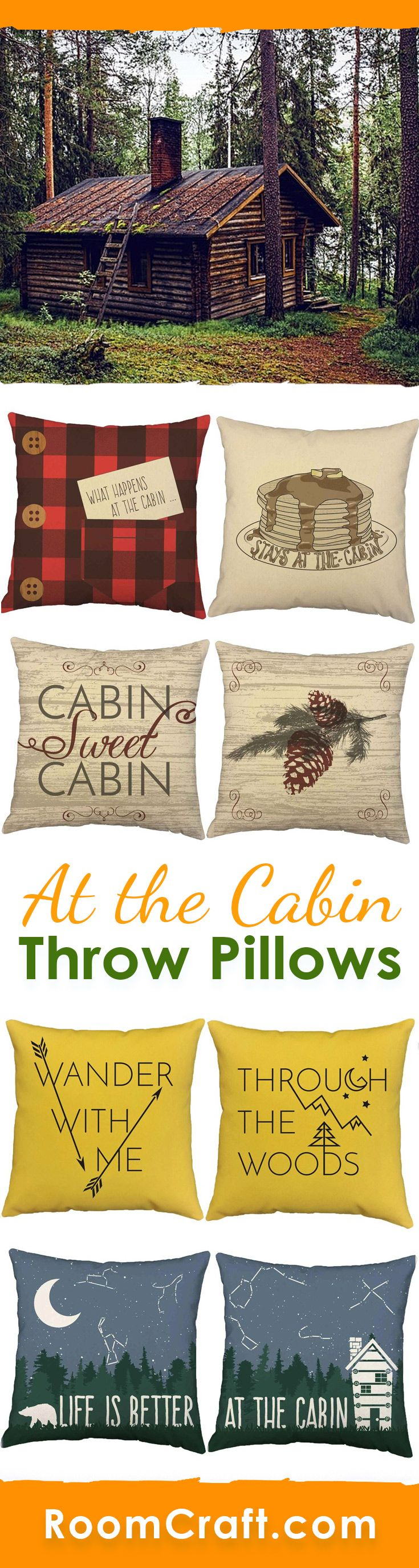 Relax by the fireplace with one of these comfy cabin throw pillows. These country living pillow cover designs are offered in multiple colors, sizes and fabrics making them perfect for your home, cabin or lodge. Our quality cabin pillow covers are made to order in the USA and feature 3 wooden buttons on the back for closure. Choose your favorite and create a truly unique pillow set. #roomcraft