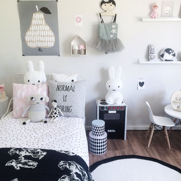 Shared Scandi inspired Monochrome girls bedroom including Miffy lamp and Darling Clementine print Black and white kids room