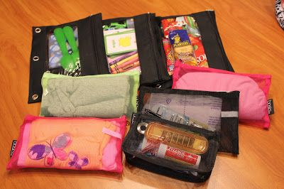 Modular Diaper Bag: Divide up your diaper bag by various activities and what each kid needs, then grab the appropriate pouches on your way out the door, leave the unneeded clutter and weight at home!