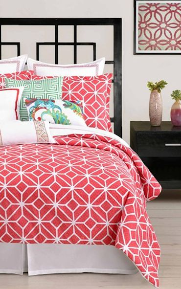 patterned #coral duvet cover and shams http://rstyle.me/n/k6zj9r9te