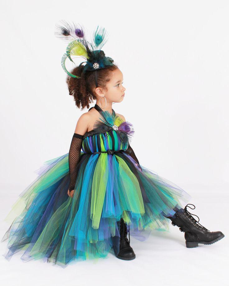 Tutu Dress - Punk Rock Peacock - Halloween Costume - 12 Month to 2 Toddler Girl. $95.00, via Etsy.