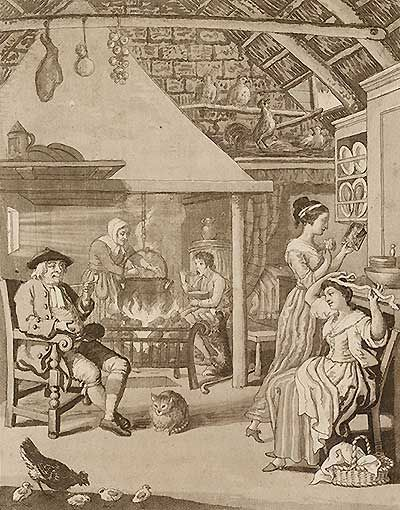 Illustration of kitchen with man in chair and women doing personal and cooking activities