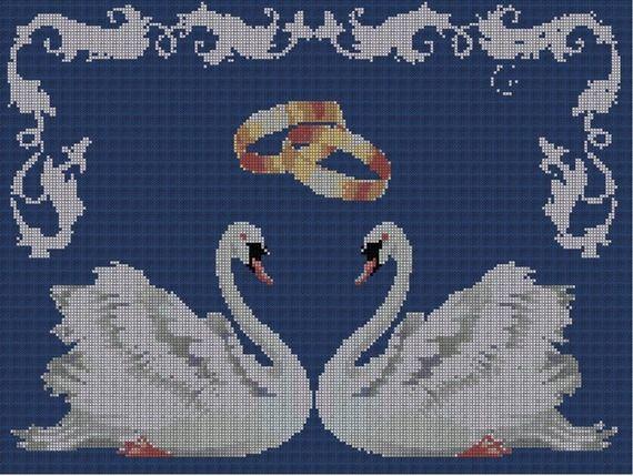Grille de point croix mariage Couple de cygnes | point de ...
