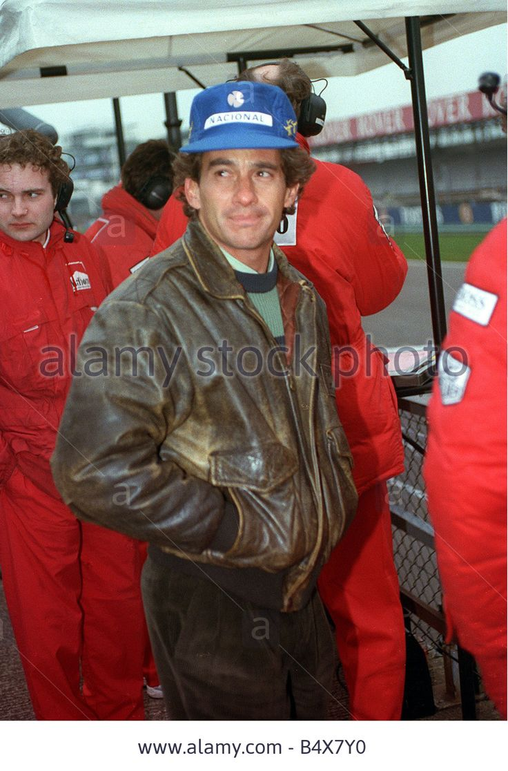 Formula 1 Silverstone Practice session March 1993 Racing driver Ayrton Senna casually walks round the pits