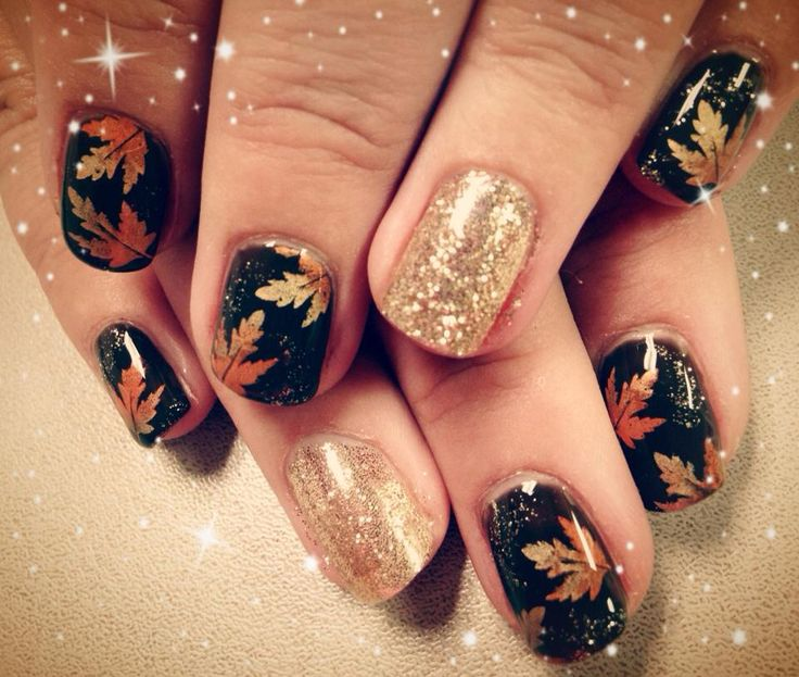 300 best fall thanksgiving nails images on pinterest autumn coolest gold glitter leaves nails polish art in 2015 thanksgiving leaf diy nails stickers solutioingenieria Images