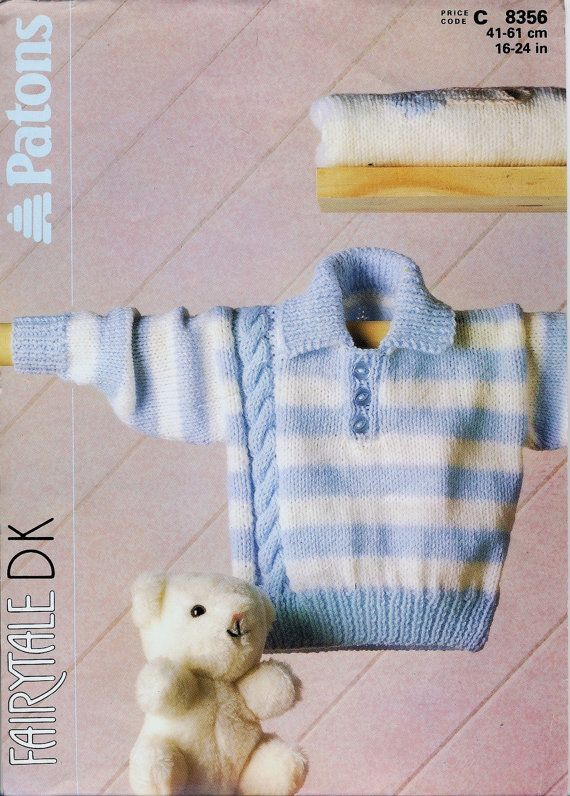 Patons 8356 Knitting Pattern ~ Baby's Striped Sweater With Cable Pattern in DK…