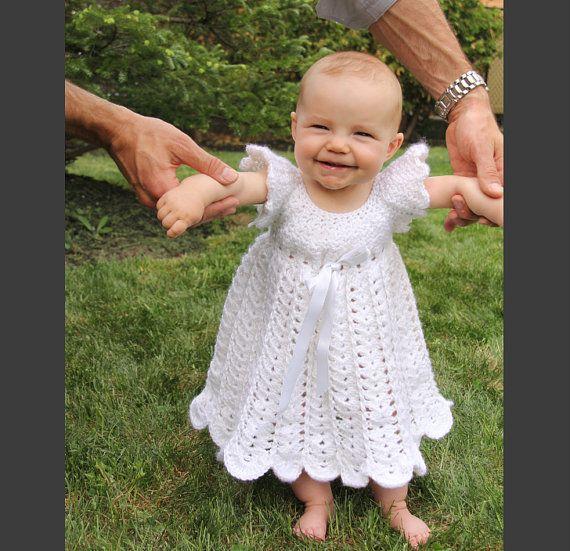 Baby Christening Gown Crochet Baby Baptism by LittleShootingStars