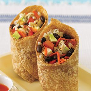 Black Bean, Avocado and Brown Rice Chicken Wrap.