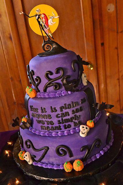Nightmare before Christmas, wedding cake, purple, orange, and black