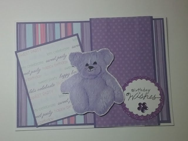 Craftmad May Sketch Challenge, Purple, pink, spots and stripes, birthday, girl, I found this year tear bear image in my stash..MerryMade Cards & Crafts...