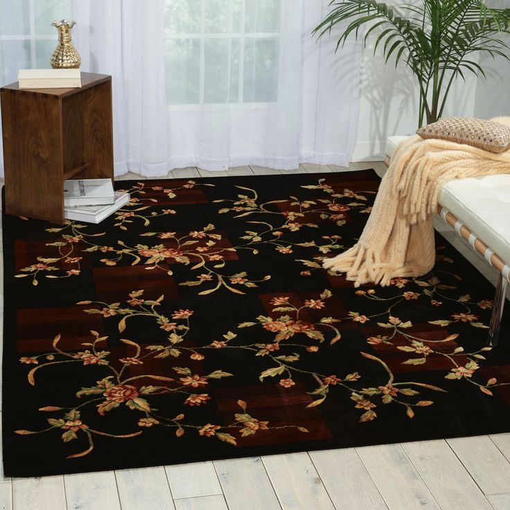 """Nourison Chambord Black Rug (5'6 x 7'5) (5'6"""" x 7'5""""), Green, Size 5' x 8' (Synthetic, Floral)"""