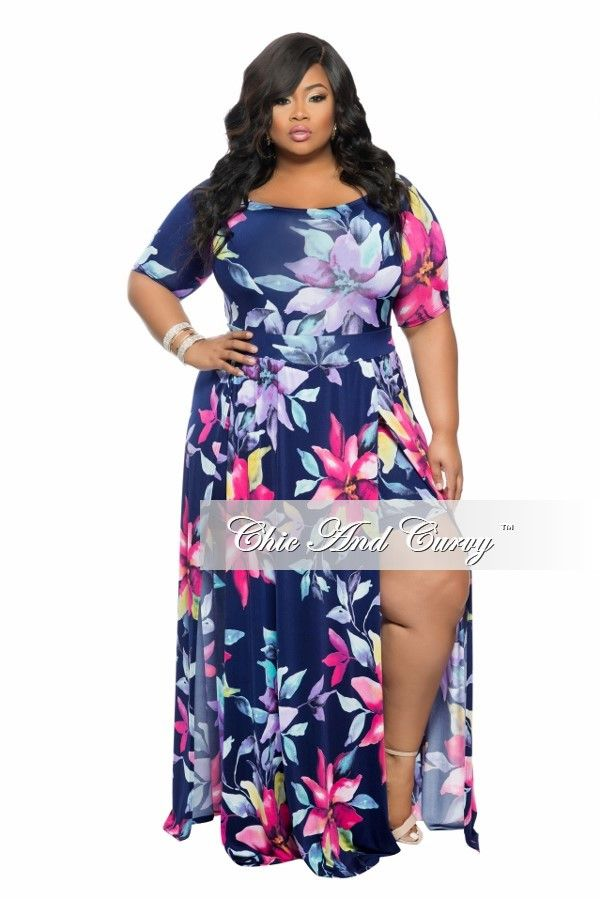 72f1ab2b0bf Plus Size Romper with Attached Long Skirt in Navy Blue Floral Print - Chic  And Curvy