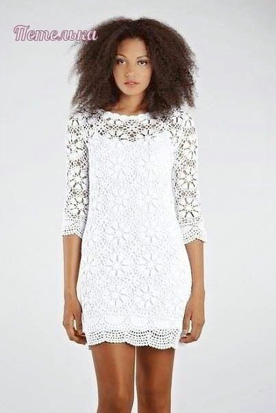 Dziana Moda: Lace crochet dress with sleeves