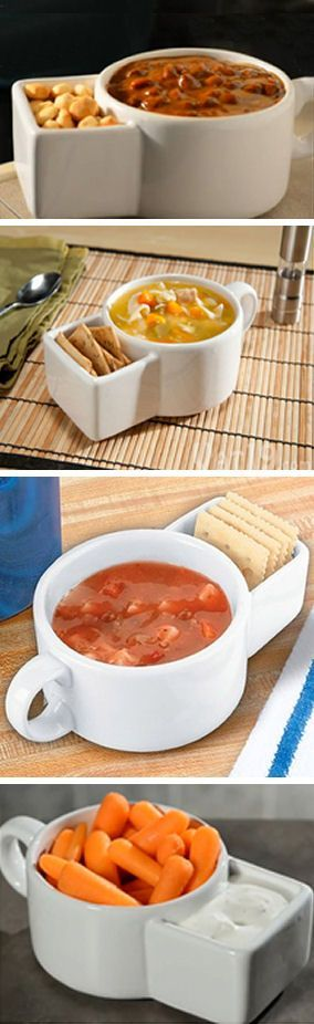 A great way to serve conveniently chips and dip or soup and crackers together. The mug can hold up to 8.5 Oz soup and it has a separate compartment to hold the crackers and chips. It's really great for a cloudy day and every purchase includes a set of two mugs. The price for every set: $14.43